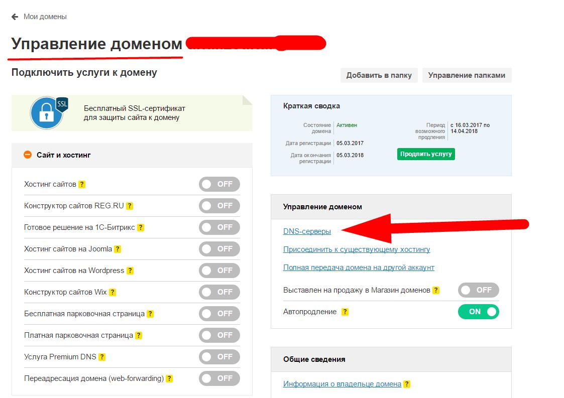 заполнить ДНС для домена