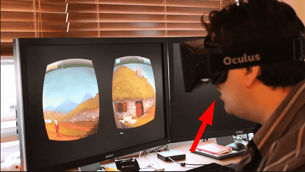 парень в шоке от виртуальных очков